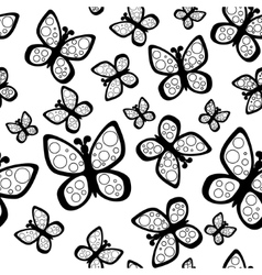 Beautiful seamless butterflies pattern in black vector image vector image