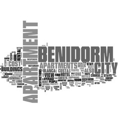 benidorm apartments your home away from home text vector image vector image