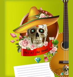 cinco de mayo card template with mask and maracas vector image vector image
