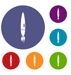 drawing brush icons set vector image vector image