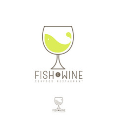 fish and wine flat logo seafood restaurant emblem vector image
