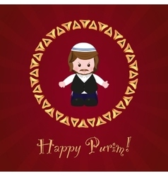 Jewish holiday of purim greeting card with vector