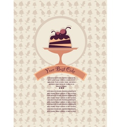 patterned cover for your dessert menu with cakes vector image