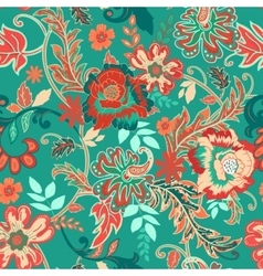 Seamless floral background colorful red and green vector
