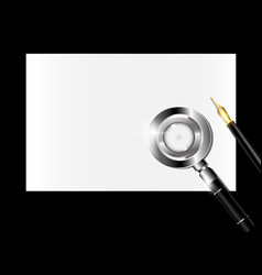 small paper magnifier and golden pen vector image vector image