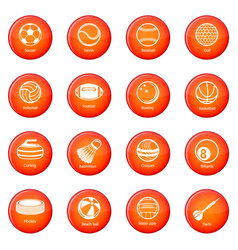 sport balls equipment icons set red vector image