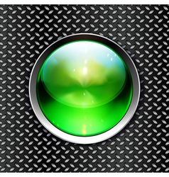 Techno background with glossy button Metal banner vector image vector image