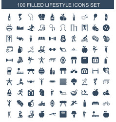 100 lifestyle icons vector