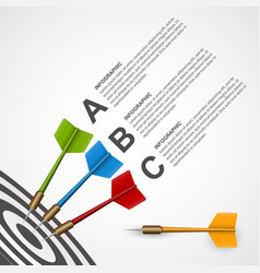 3d concept infographic template target with darts vector image