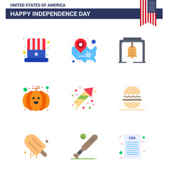 9 flat signs for usa independence day festivity vector