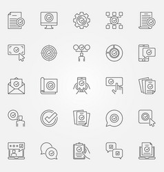 approve line icons set approval and vector image