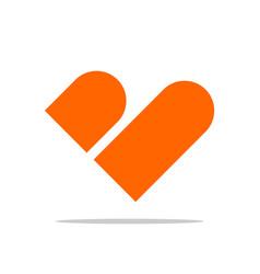 B letter heart shape logo template design vector