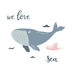 Baby print with blue whale hand drawn graphic vector