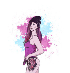 Beautiful girl in hat with tattoo vector