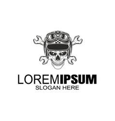 bikers helmet logo design template vector image
