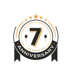 Birthday vintage logo template 7 th anniversary vector