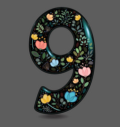 black glared number nine with watercolor flowers vector image