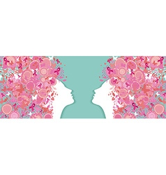 Breast cancer simple silhouette pink ribbon women vector image
