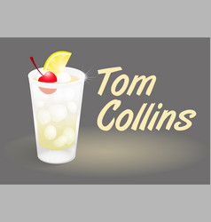 Cocktail tom collins vector