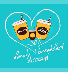 colorful flat family breakfast discount concept vector image
