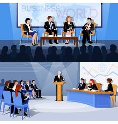 Conference Public Speaking 2 Flat Banners vector image