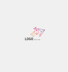 Creative logo multicolored geometric crystals vector