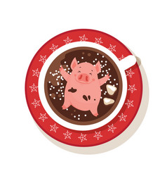 Cute and funny piglet chilling in a cup of winter vector