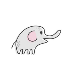 cute elephant sketch doodle vector image