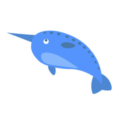 Cute narwhal cartoon flat sticker or icon vector