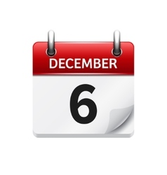 December 6 flat daily calendar icon Date vector