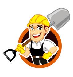 farmer worker logo mascot cartoon vector image