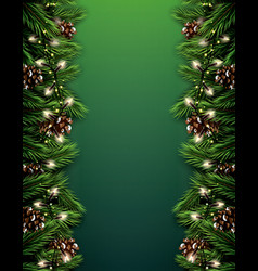 fir branch with neon lights and pine cone on vector image vector image
