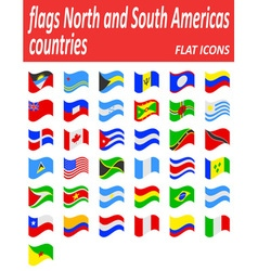 Flags north and south americas countries flat vector