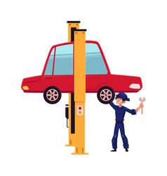 flat boy repairing car on lift vector image