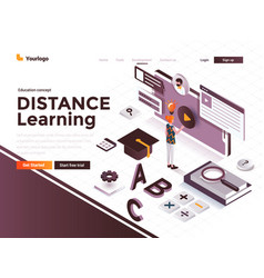 flat color modern isometric concept - distance vector image