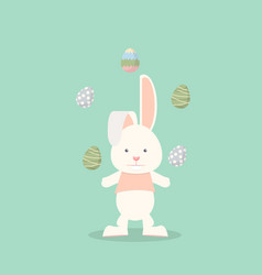 flat funny bunny with easter eggs vector image