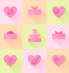 Flat red gift box in the form of heart icon set vector image