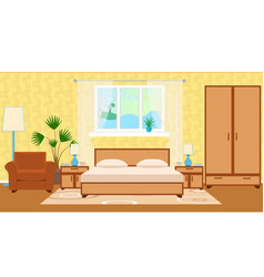 flat style hotel room interior with furniture vector image
