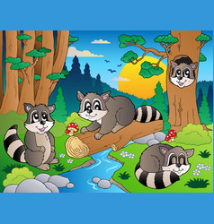 Forest scene with various animals 7 vector