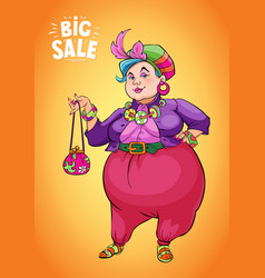 Funny fat lady holding shopping bag to promote vector