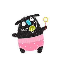 funny hairy monster badesign with rattle vector image