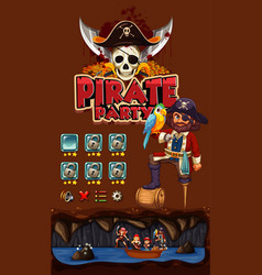 game template with pirate theme background vector image