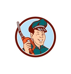 Gas Attendant Nozzle Winking Circle Cartoon vector image