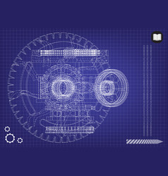 gear mechanism on blue vector image