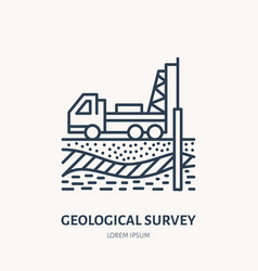 Geological survey engineering flat line vector
