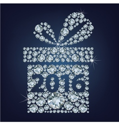 Gift present with 2016 made up a lot of diamonds vector image