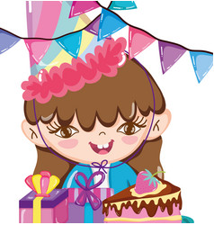 girl birthday party cartoons vector image