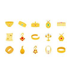 Gold treasure flat icons vector