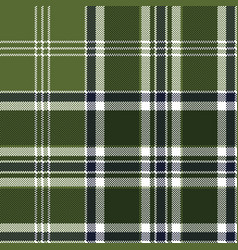 green checkered plaid seamless fabric texture vector image