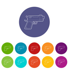 gun icons set color vector image